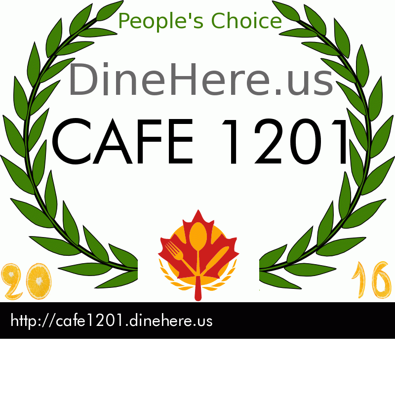 CAFE 1201 DineHere.us 2016 Award Winner